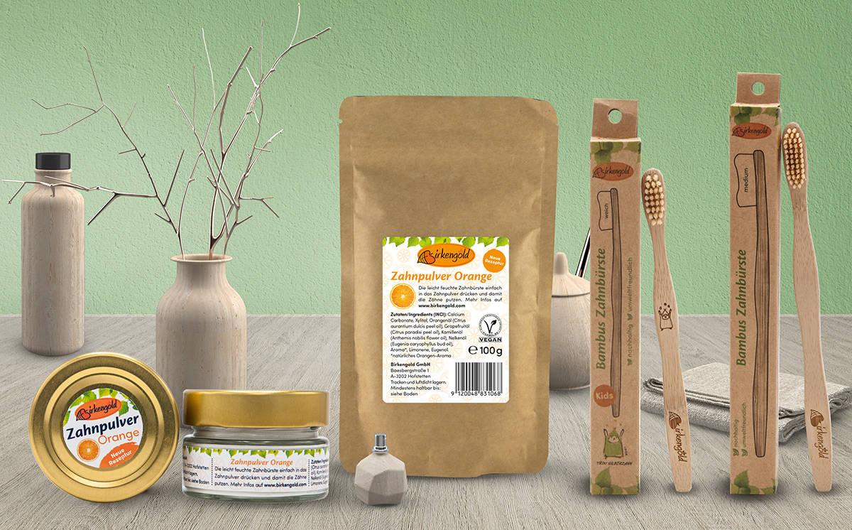 Imagebild : Produkte zur Zahnpflege von Birkengold
